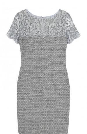 Приталенное буклированное платье-миди с кружевной вставкой St. John. Цвет: серебряный