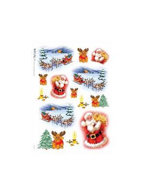 Декупажная карта 32*45 Дед Мороз и лоси Idigo. Цвет: сиреневый, прозрачный