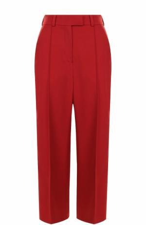 Укороченные шерстяные брюки со стрелками и лампасами Racil. Цвет: красный