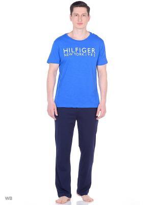 Пижама: футболка и брюки Tommy Hilfiger. Цвет: синий