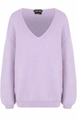 Пуловер свободного кроя с V-образным вырезом Tom Ford. Цвет: сиреневый