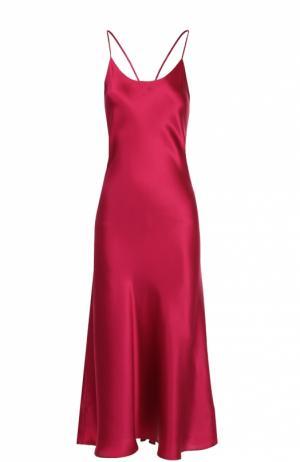 Шелковая сорочка с открытой спиной Olivia Von Halle. Цвет: красный