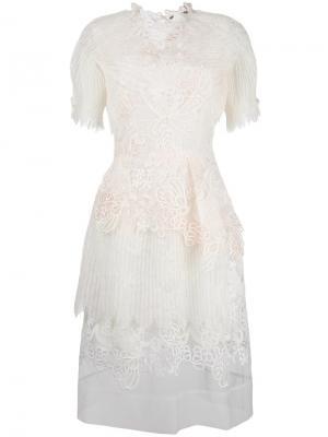 Прозрачное платье с вышивкой Ermanno Scervino. Цвет: белый