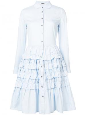 Платье-рубашка с ярусами оборок Jourden. Цвет: синий