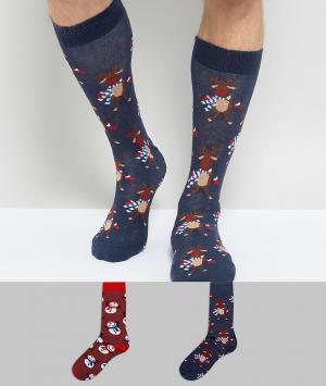 Urban Eccentric 2 пары новогодних носков. Цвет: мульти