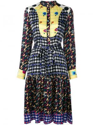Платье с узором и длинными рукавами Duro Olowu. Цвет: многоцветный