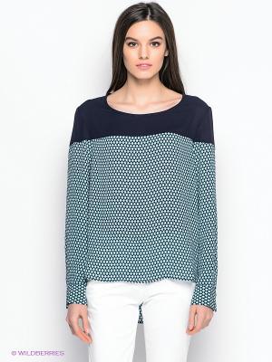 Блузка ZENDRA. Цвет: темно-синий, голубой, белый