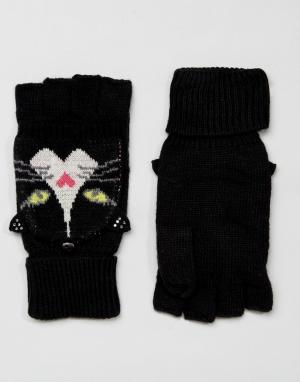 Yumi Перчатки без пальцев с узором кошки. Цвет: черный