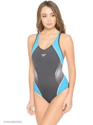 Слитный купальник Speedo. Цвет: серый, морская волна