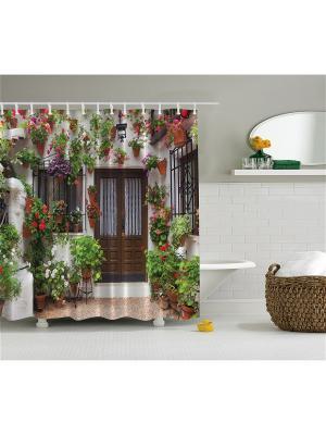 Фотоштора для ванной Цветочные мотивы, 180*200 см Magic Lady. Цвет: зеленый, коричневый