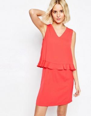 Paisie Платье с V-образным вырезом и оборками. Цвет: розовый
