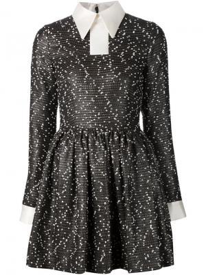 Твидовое платье-рубашка Minjukim. Цвет: чёрный