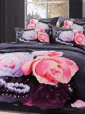 Комплект постельного белья, Роза Жемчуг, Евро KAZANOV.A.. Цвет: антрацитовый