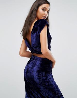 Kendall + Kylie Бархатный топ. Цвет: синий