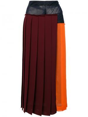 Плиссированная юбка с прозрачной панелью Victoria Beckham. Цвет: розовый и фиолетовый