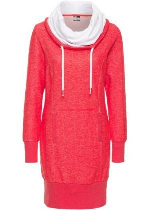 Платье из трикотажа, с длинным рукавом (клубничный меланж) bonprix. Цвет: клубничный меланж