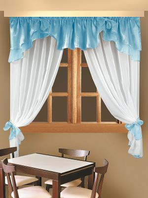 Комплект штор для кухни ZLATA KORUNKA. Цвет: голубой