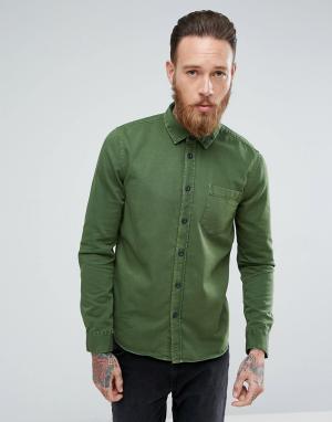 Nudie Jeans Рубашка классического кроя Co Henry. Цвет: зеленый
