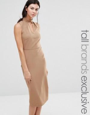 Alter Tall Платье-футляр без рукавов с высоким воротом и вырезом капелькой. Цвет: рыжий