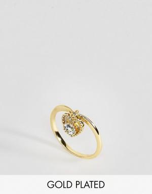 Rock 'N' Rose Кольцо с аквамарином. Цвет: золотой