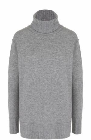Однотонный свитер из смеси шерсти и кашемира Allude. Цвет: серый