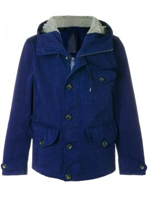 Куртка с капюшоном Ten-C. Цвет: синий