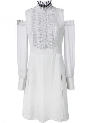 Платье с кружевным нагрудником и открытыми плечами Yigal Azrouel. Цвет: серый