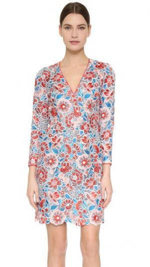 Платье с длинными рукавами и вышивкой Wes Gordon. Цвет: мульти