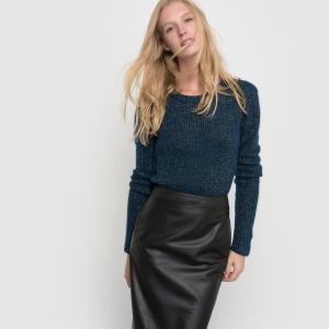 Пуловер в рубчик, с длинными рукавами и круглым вырезом La Redoute Collections. Цвет: серый меланж,сине-зеленый