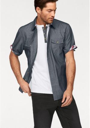 Комплект: рубашка + футболка Arizona. Цвет: серо-синий/белый