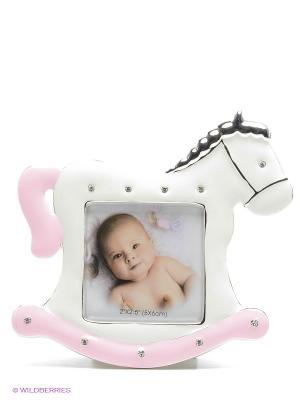 Минирамка-сувенир лошадка, розовая, украшенная стразиками, формата 6х6см PLATINUM quality. Цвет: молочный, розовый
