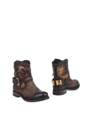 Полусапоги и высокие ботинки FABBRICA MORICHETTI. Цвет: темно-коричневый