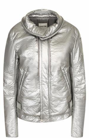 Однотонная куртка на молнии с отложным воротником Helmut Lang. Цвет: серебряный