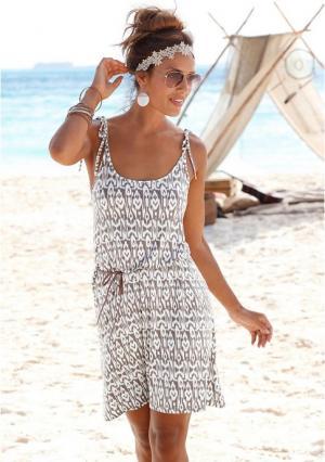 Пляжное платье Lascana. Цвет: коричневый, песочный с рисунком