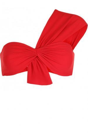 Однотонный бра асимметричного кроя с драпировкой Marysia. Цвет: красный