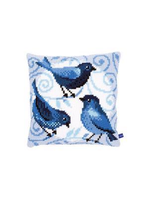 Набор для вышивания лицевой стороны наволочки Три синих птички 40*40см Vervaco. Цвет: голубой, белый, синий, черный