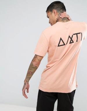 Antioch Футболка с карманом и принтом на спине. Цвет: розовый