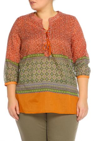 Рубашка-блузка Elena Miro. Цвет: горчичный, коричневый, принт