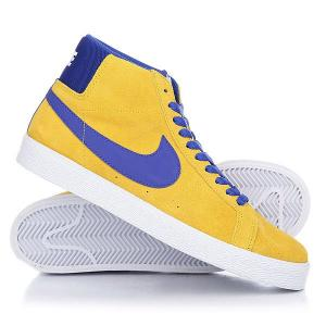 Кеды кроссовки высокие  Sb Blazer Zoom Mid Tour Yellow/Deep Night-White Nike. Цвет: желтый,синий
