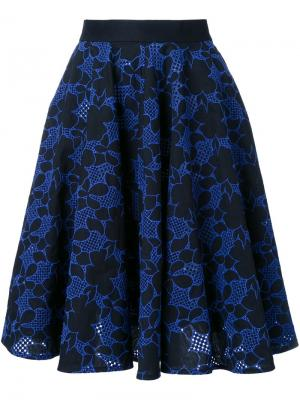 Юбка в складку с вышивкой Mikio Sakabe. Цвет: чёрный