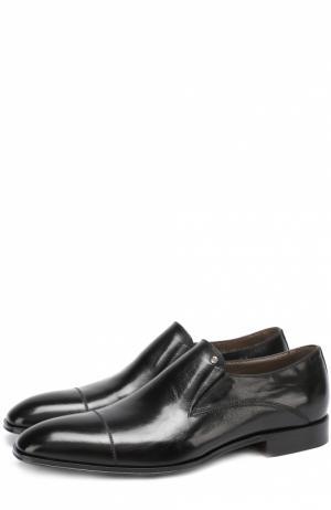Кожаные лоферы с текстильной вставкой Aldo Brue. Цвет: черный