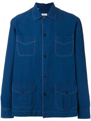 Джинсовая рубашка с накладными карманами Salvatore Piccolo. Цвет: синий