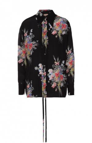 Шелковая блуза прямого кроя с цветочным принтом No. 21. Цвет: черный