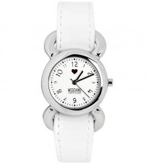 Часы круглой формы с кожаным браслетом Moschino