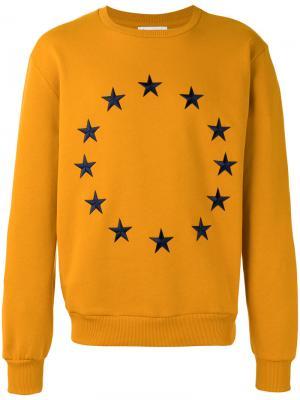 Толстовка с вышитыми звездами Études. Цвет: жёлтый и оранжевый
