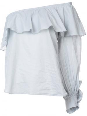 Блузка с открытыми плечами Apiece Apart. Цвет: синий