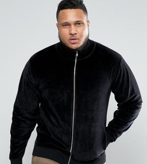 ASOS Велюровая спортивная куртка PLUS. Цвет: черный