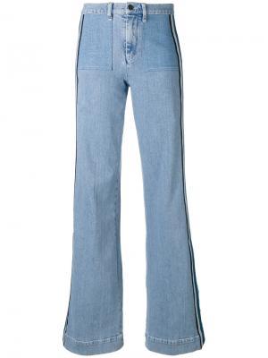 Расклешенные джинсы с лампасами Victoria Beckham. Цвет: синий