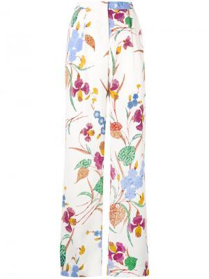 Брюки прямого кроя с цветочным принтом Dvf Diane Von Furstenberg. Цвет: белый