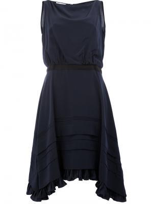 Платьес асимметричным подолом Oscar de la Renta. Цвет: синий